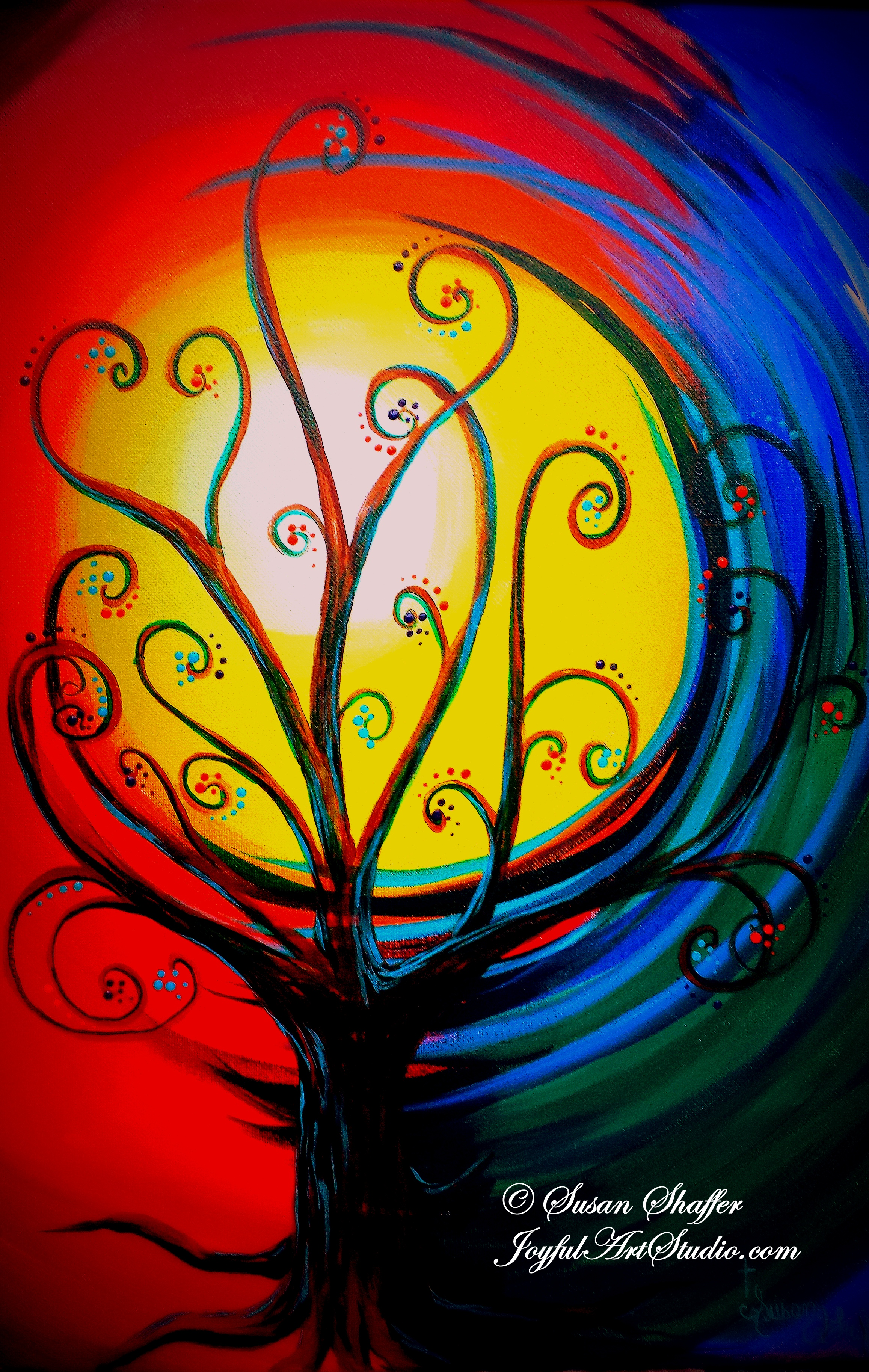 tree of living color 16x20 acrylic painting 3 hours 45